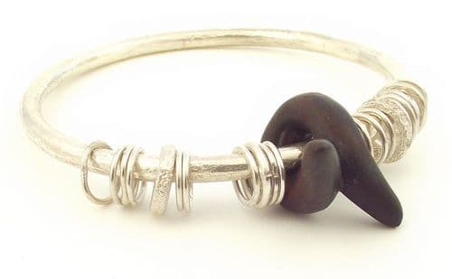 Blackwood  bangle crossover shaped wooden bead sterling silver 4mm rod